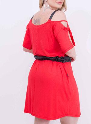 Vestido em Malha com Recorte nas Mangas e Detalhes em PU Vermelho