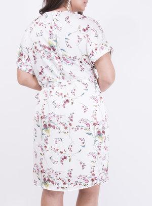 Vestido em Crepe com Decote Transpassado Floral