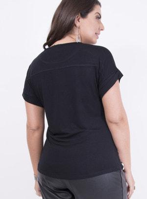 T-shirt em Malha com Barra Italiana Poá