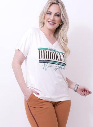 T-shirt em Malha Estampada com Frase