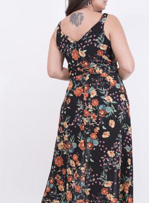 Vestido em Crepe Longo com Fendas Floral