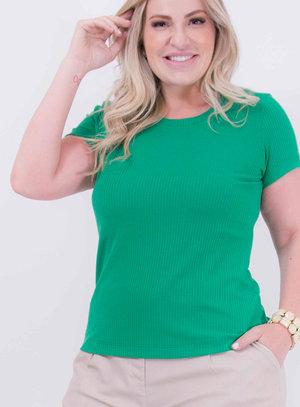 T-shirt em Malha Canelada Básica Verde