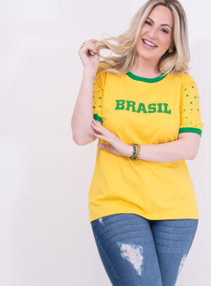 T-Shirt Unissex em Algodão com Estrelas na Manga Especial Copa do Mundo Amarelo
