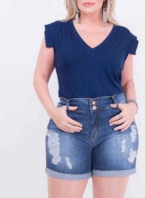 Short em Jeans Destroyed com Faixa Lateral e Barra Italiana