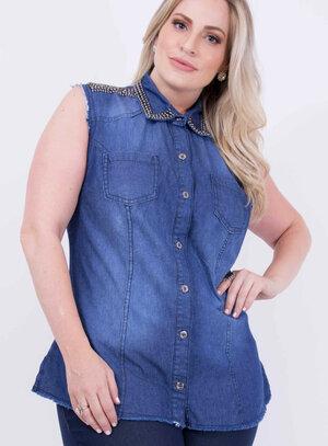 Camisa em Jeans com Manga e Barra Desfiada Bordado