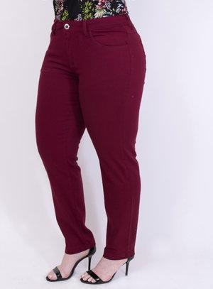 Calça em Jeans com Elastano Skinny Vinho