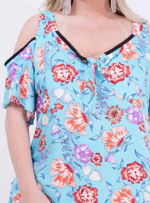 Blusa em Viscose com Recorte nos Ombros e Amarração Floral