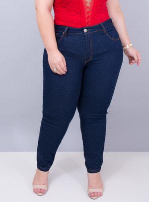 Calça em Jeans com Elastano Skinny Escuro