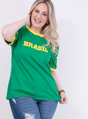 T-Shirt Unissex em Algodão com Estrelas na Manga Especial Copa do Mundo Verde