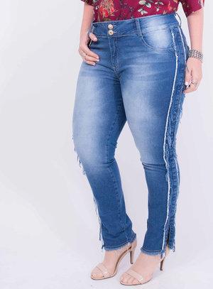 Calça em Jeans com Elastano Skinny com Detalhe Desfiado nas Laterais