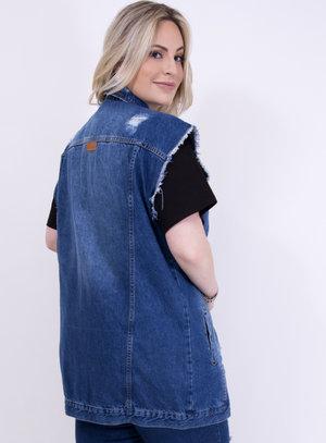 Colete em Jeans Oversized Destroyed com Bolsos Azul