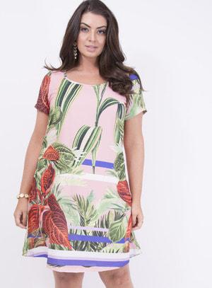 Vestido em Crepe Evasê com Barrado e Estampa Floral Salmão