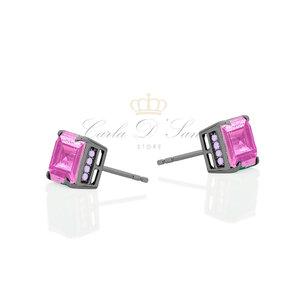 brinco quadrado rosa cravejado lateral roxo prata925