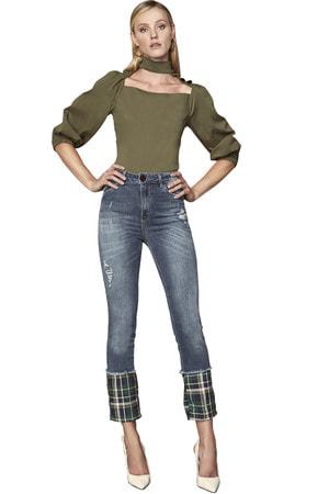 Calça Jeans Detalhe Xadrez