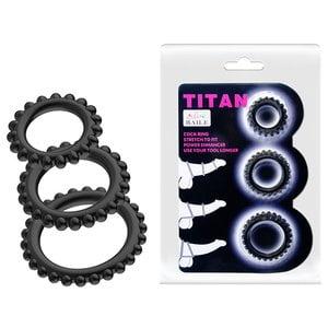 Kit Titan de 3 Anéis Penianos com Pequenos Nódulos por Todo Contorno