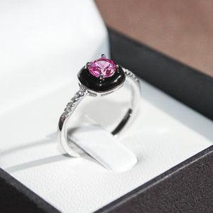 Anel Black Ceramic Turmalina Pink