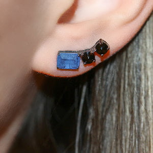 Ear Cuff Fancy Quartzo Azul Fusion Negro