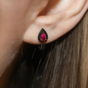 Argolinha Gotinha Turmalina Pink Negro