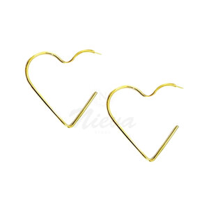 Brinco Argola Coração Médio Ouro