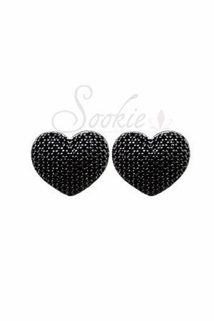 Brinco coração rodio negro semijoias
