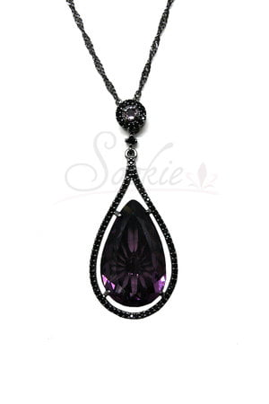 Colar longo Gota cravejada Ultra Violeta Ródio Negro Semijoias