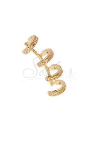 Piercing Falso Argolas dourado com strass