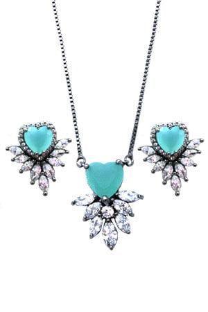 Conjunto Coração Azul Tiffany Semijoia
