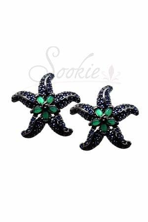 Brinco estrela rodio negro semijoias