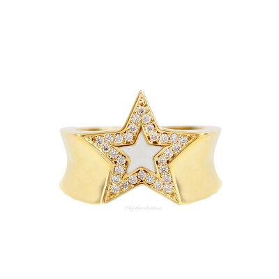 Anel Cool Estrela Esmaltada Ouro - Off