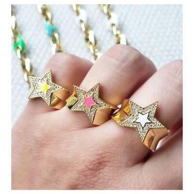 Anel Cool Estrela Esmaltada Ouro - Pink