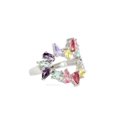 Anel PRATA 925 Pedras Coração Candy Colors
